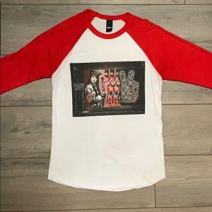 Red & White Obey Baseball Sleeve Tee